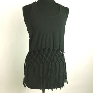 Alythea Black Crochet Tank Top